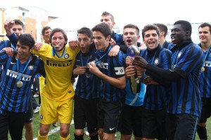 Inter Milan celebrate their triumph in the inaugural edition of the NextGen Series.