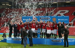Manchester United celebrate their victory. Image: Daily Mail/Action Images