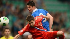 it was a closely contested tie in Zilina. Image: Sportsfile