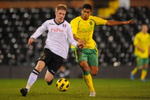 Alex Brister in action last year for Fulham U21s.