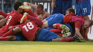 Serbia celebrate their penalty win over Portugal in the semi-final, who knew they'd be celebrating again last night?
