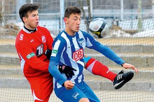 Faton Ademi netted a double for Hertha BSC in their 7-2 win.